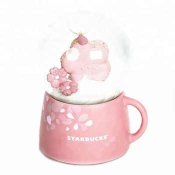 100mm Pink Coffee Cup Base Music Snow Globe Brand Company Promotion Gift Ice Cream And Dessert Snow Ball Gifts With A Peace Dove