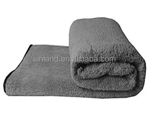 Sunland 30x50Inch Grey Large Plush Thick Dog Bath Towel Dry Towel Soft Terry Cleaning Cloths Microfiber Pet Towel