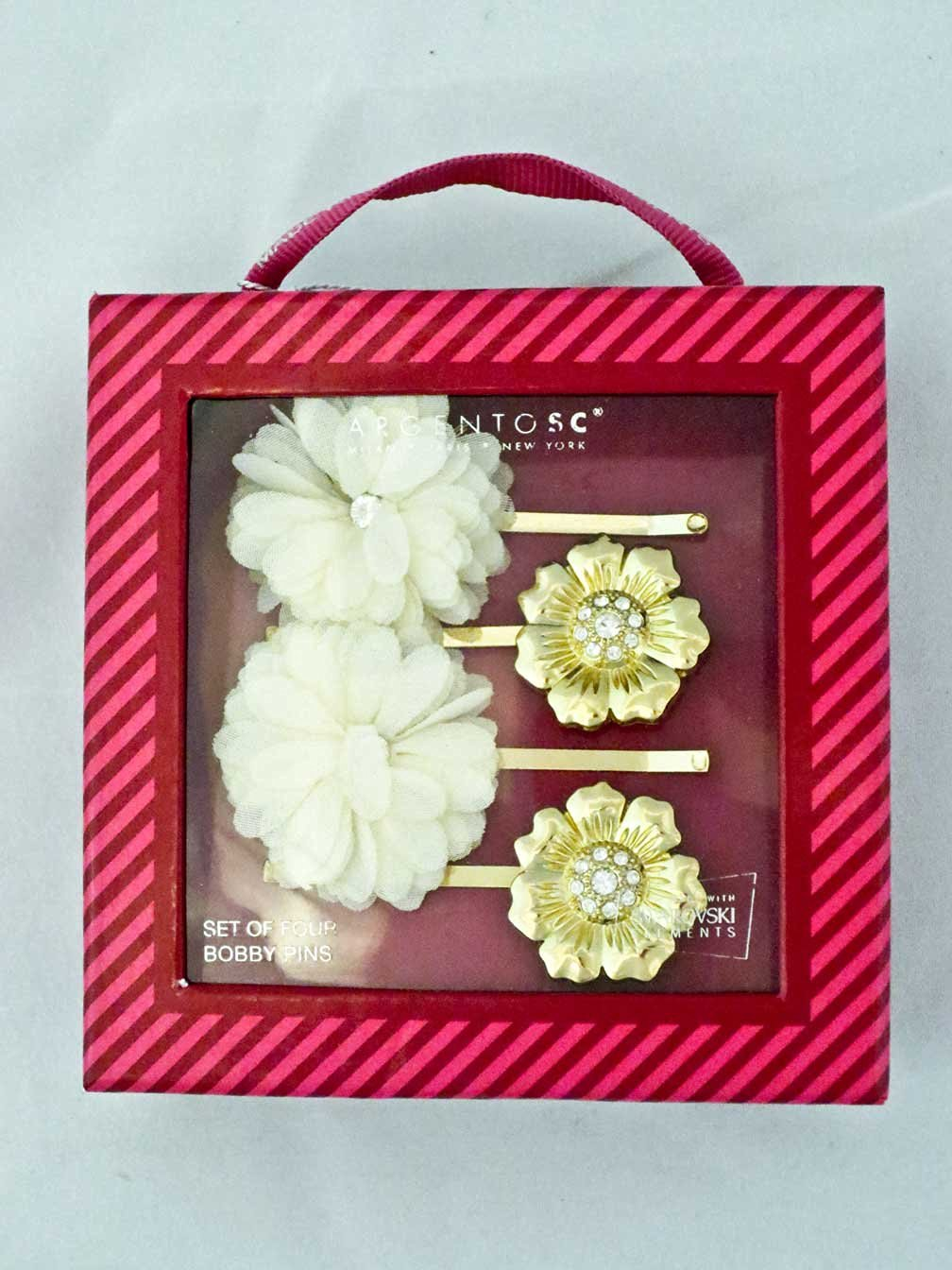 Argento SC Set of 4 Flower Bobby Pins in a Pink Box Made with Swarovski Elements