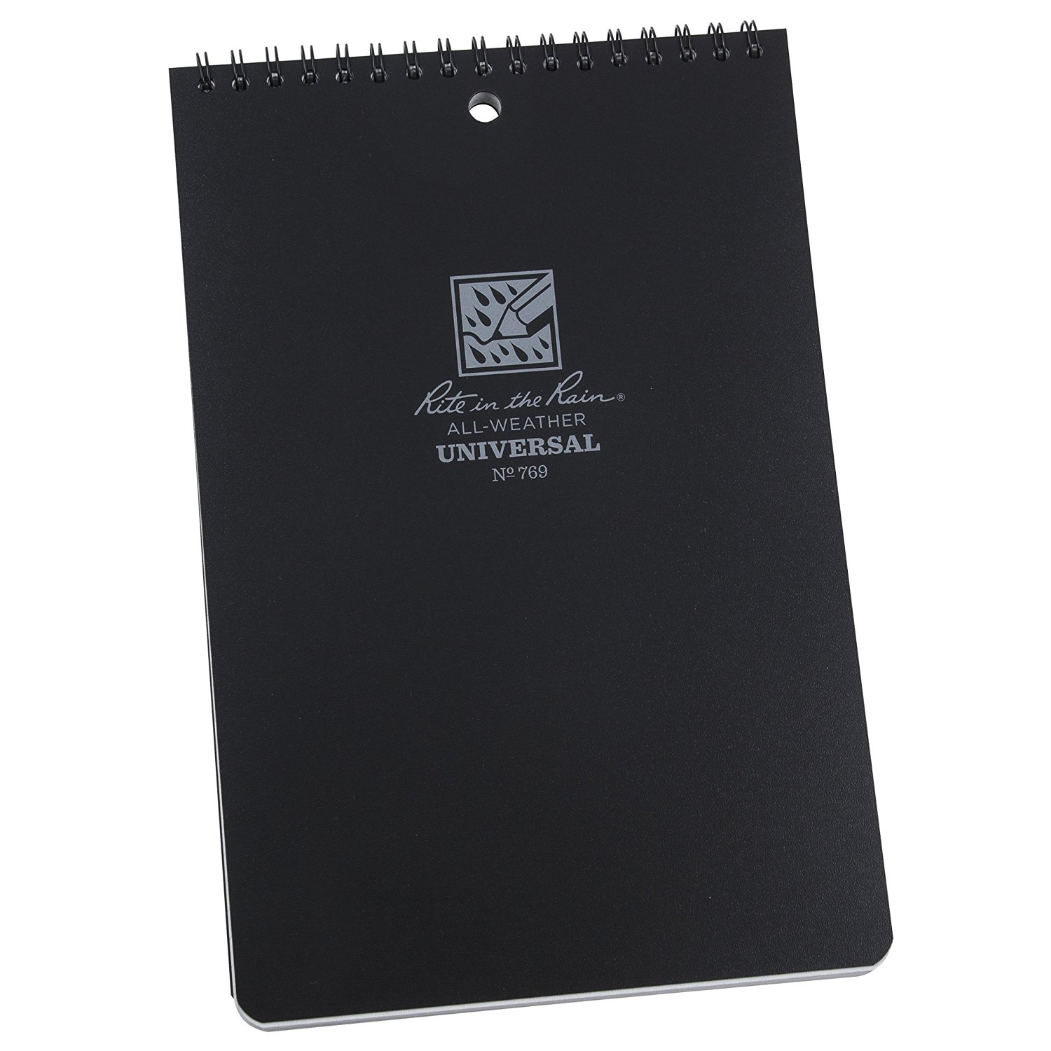"""Rite in the Rain All-Weather 6"""" x 9"""" Top-Spiral Notebook, Black Cover, Universal Pattern (No. 769)"""