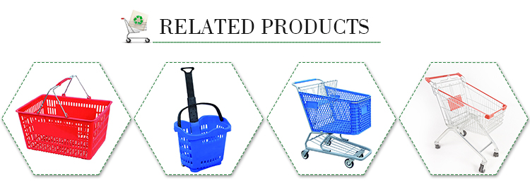 large capacity 4 wheel supermarket plastic basket shopping trolley