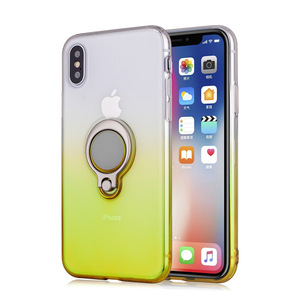 Wholesale Anti-shock Flexible TPU Case Gradual Change Magnetic Ring Holder Case for iphoneXS XR XS Max