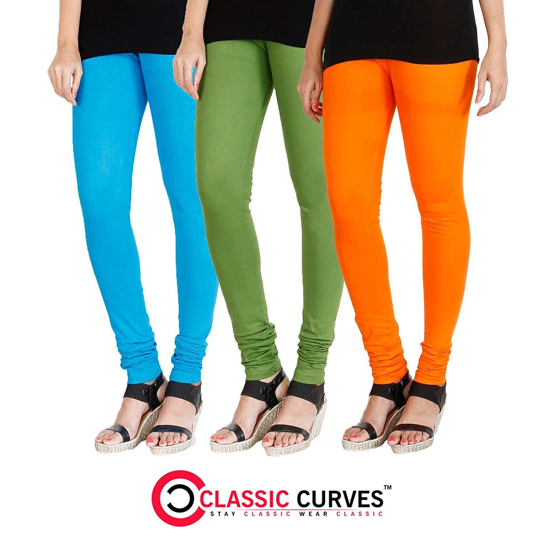8b5f824ef99afd Get Quotations · CLASSIC CURVES Leggings Tights Cotton Full Length &  Churidar Legging Pack ...
