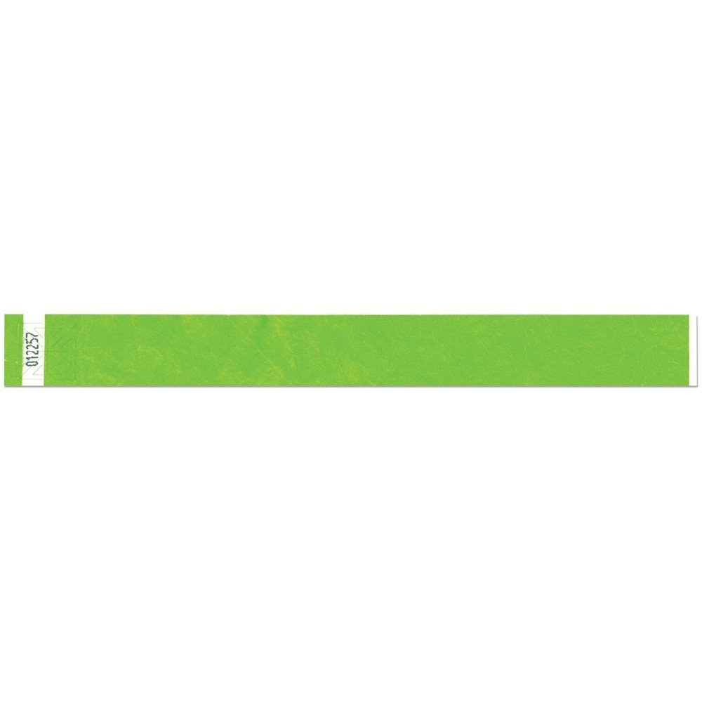 1 Inch Tyvek Tytan-Band® Wristbands - Strong Adhesive Closure Tear Resistant - Lime - 500 Pieces Per Box