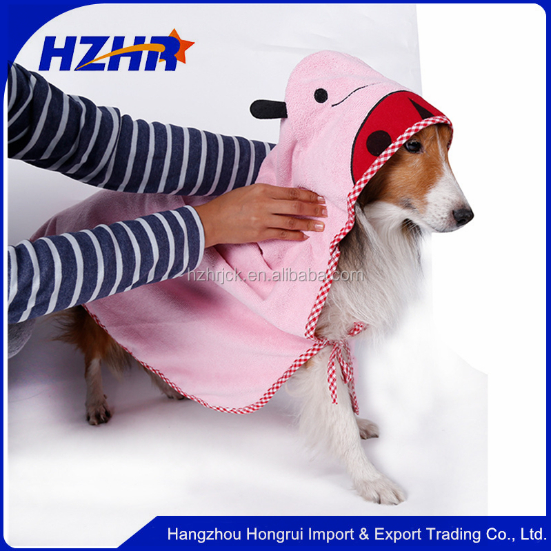 china factory embroidery dog animal hooded towel pattern dog poncho bathrobes