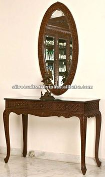 Wooden Hand Carved Console Table And Mirror (Hand Carved Furniture From  India)