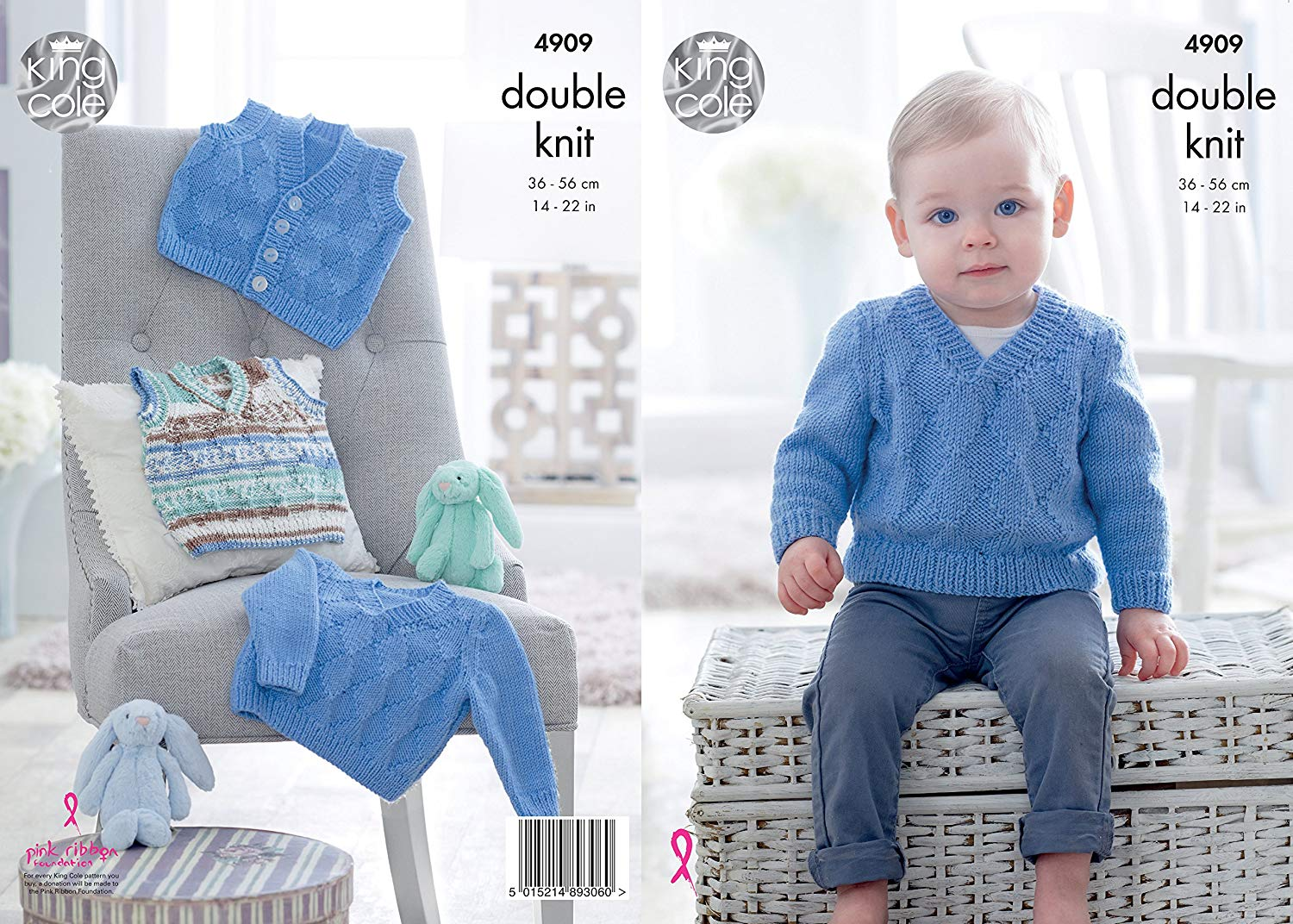 42008bc634542c Get Quotations · King Cole Baby Double Knitting Pattern V Neck Slipover  Sweater   Waistcoats (4909)