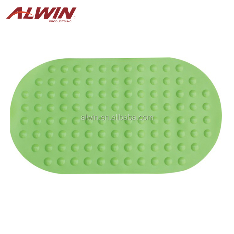 Newest design green curved anti slip baby bath mat 26.64.008839
