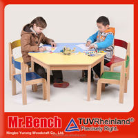 Bright colorful hexagon kids cheap wooden tables furniture for child