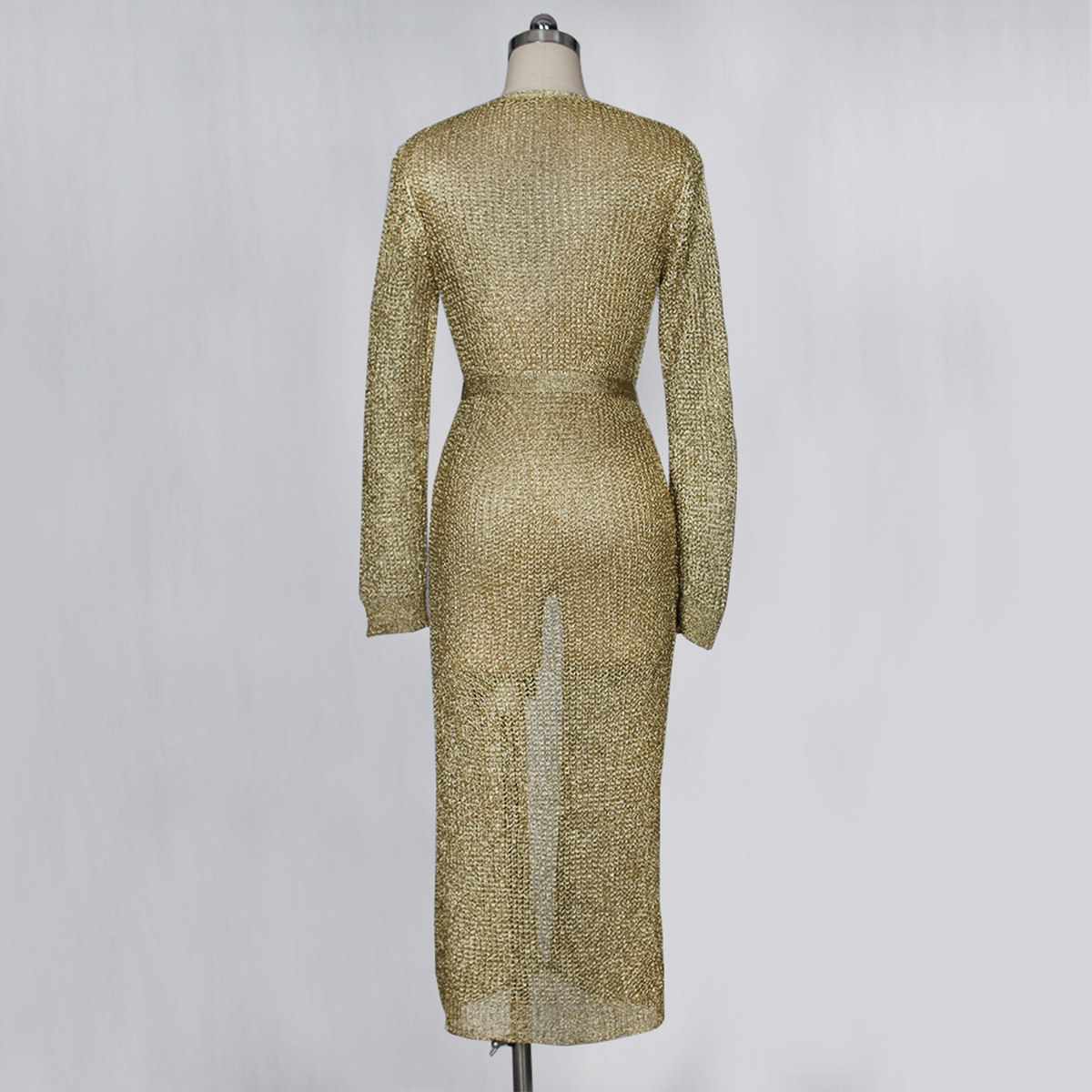 Z020 Hot selling gold knitted sweater outerwear sexy hollow out cardigan long dress