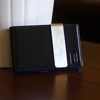 Minimalist Slim Leather Wallet Money Clip Holds 8 Cards with Metal
