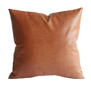 E903 Faux Leather Crocodile Tan Pillow Cover Throw Cushion Case Decorative Couch Removable Cover Leather Cushion