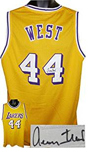 Jerry West signed Los Angeles Lakers Gold Throwback Prostyle Jersey- JSA Hologram