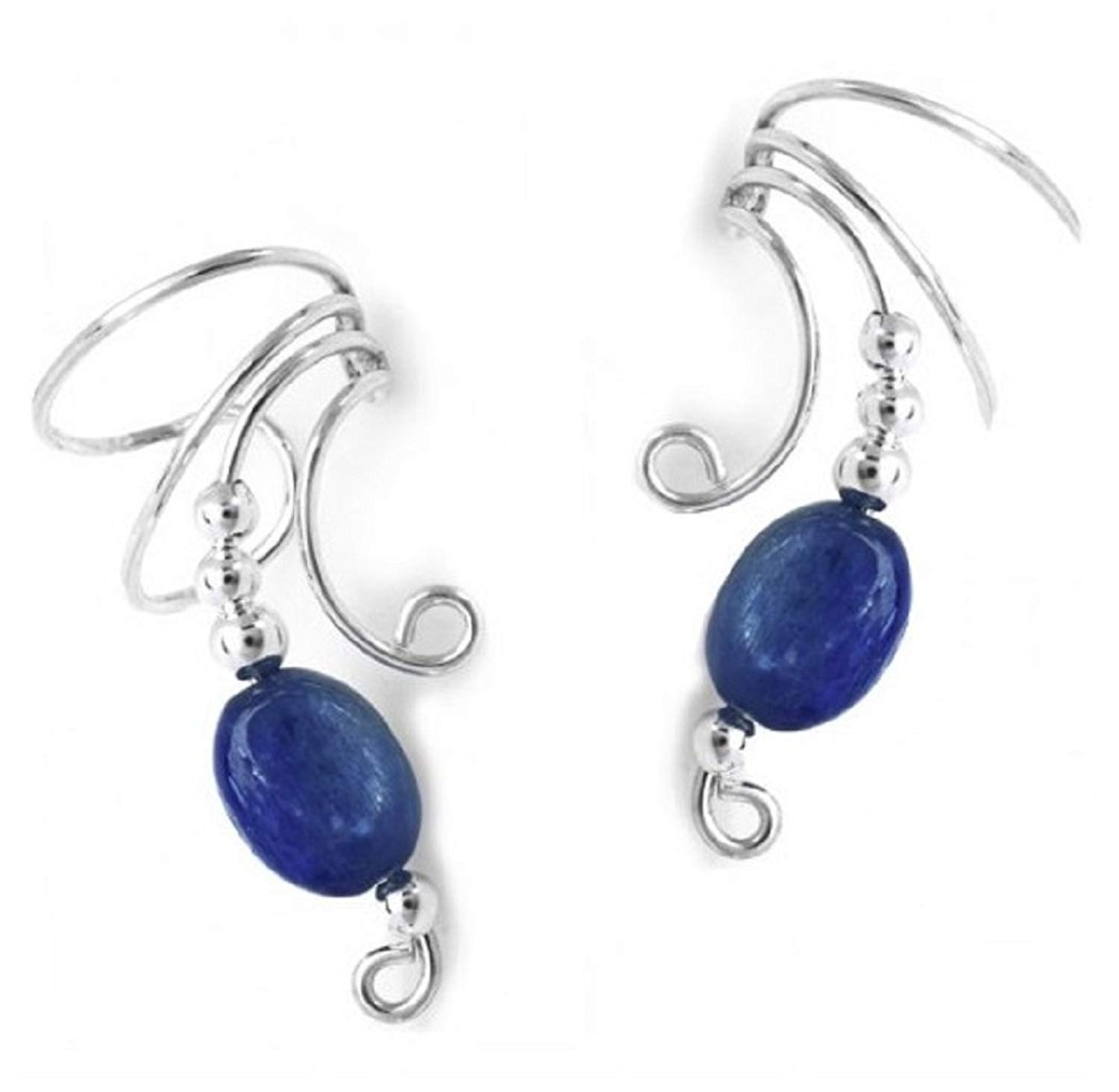 faa744cc5eb Get Quotations · Sterling Silver Blue Kyanite Oval Bead Wave Ear Cuff Wrap  Set