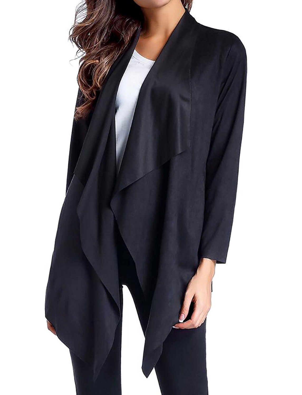 YUNY Women's Open Front Faux Suede Irregular Hem Overcoat Cardigan