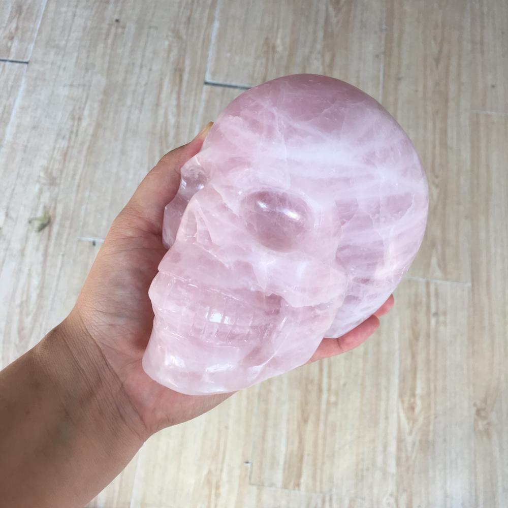 2kg Large Natural rose quartz crystal Reiki skulls healing decoration