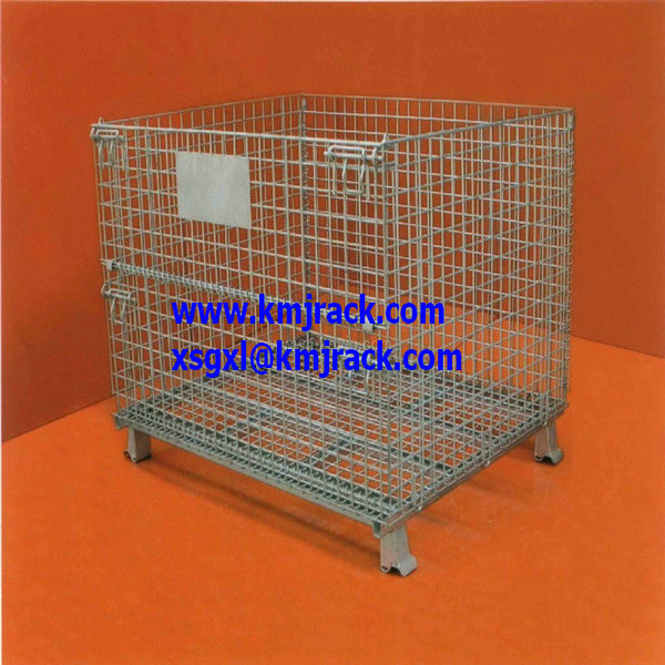 Plated material handling storage wire mesh container