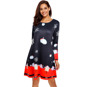 Ebay Amazon wish snow animal deer print floral dress women dresses plus size winter 2019 spring long sleeve Christmas dresses