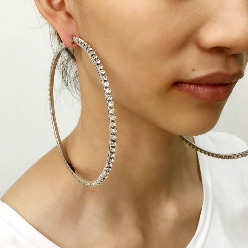 Luxury 100mm Diameter Diamond Hoop Earrings Women Full Round Rhinestones Fashion Chunky Whole Silver