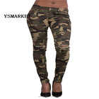2018 Fashion Camouflage Embroidery Pockets Pencil Jeans Women High Waist Knee Hole Denim Pencil Pants E 241