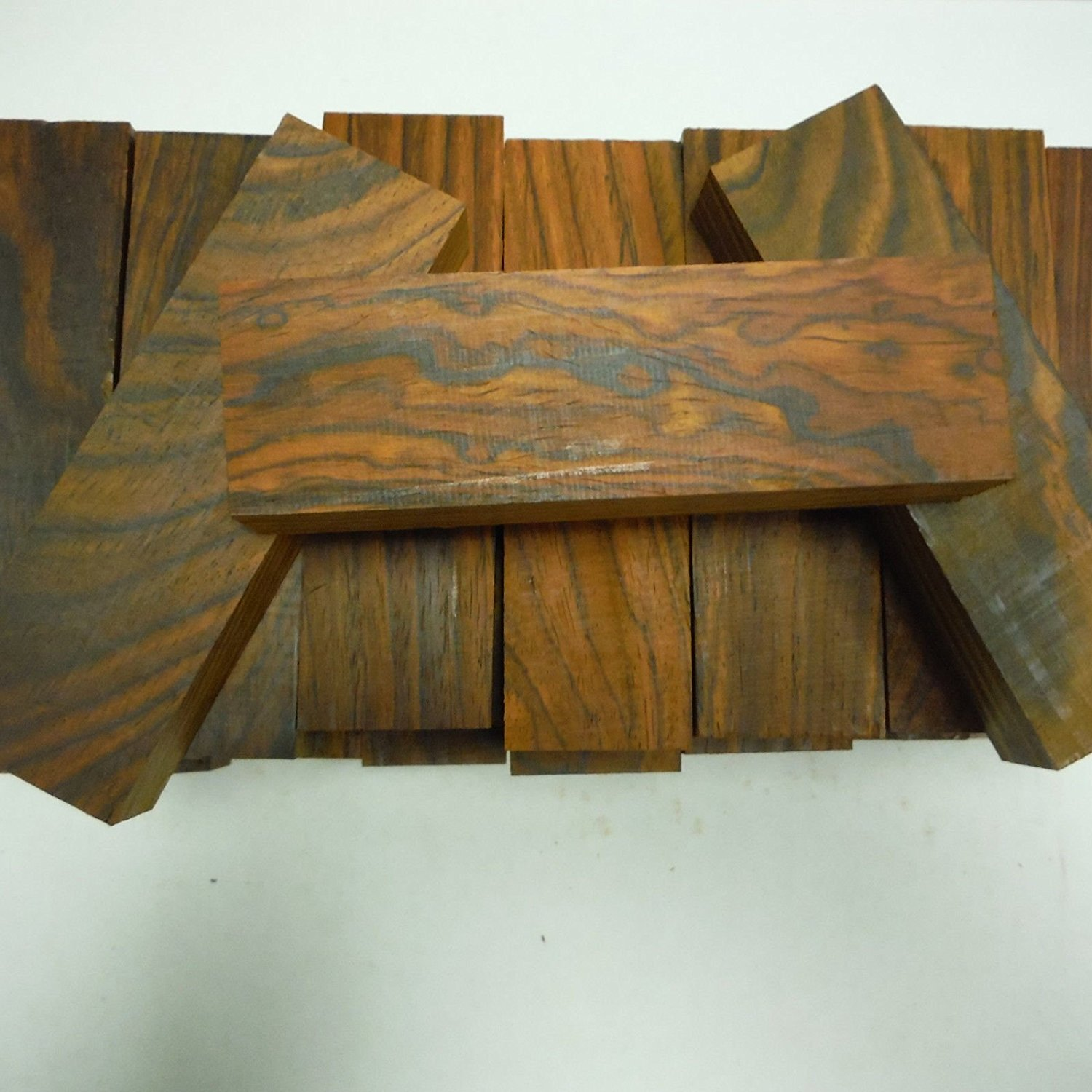 """10 kiln dried, 100% heartwood cocobolo rosewood knife blanks 5"""" x 1.5"""" x 1"""" inch"""