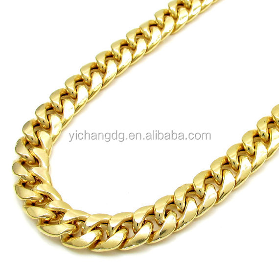 10k Yellow Gold Italy Men's Miami Cuban Curb Hollow Chain Necklace 316L Stainless Steel Miami Cuban Chain