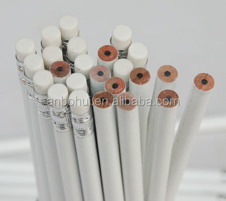 high grade white wooden hb pencil with eraser
