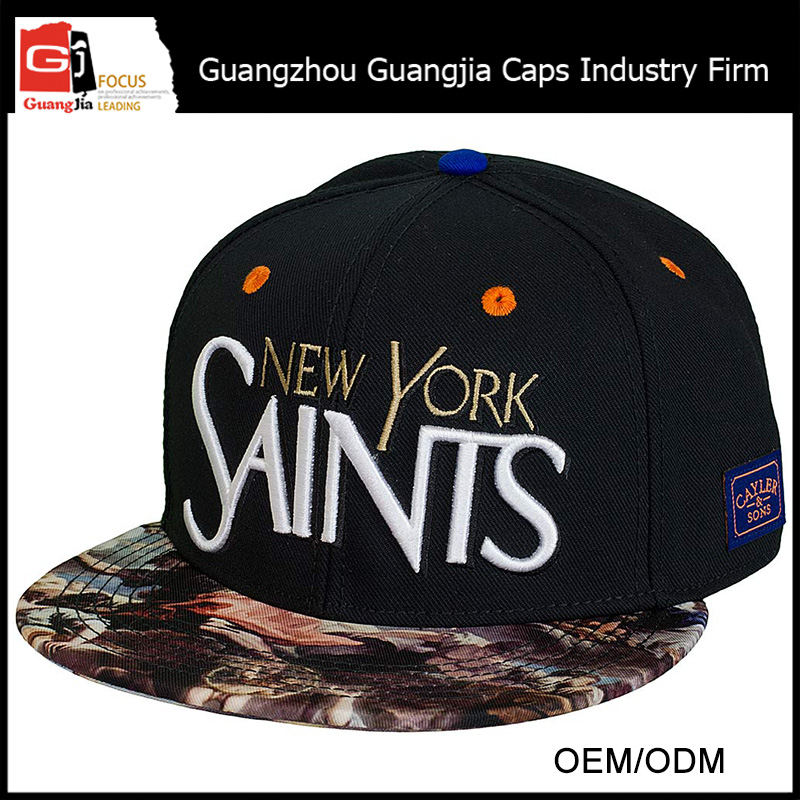Guangjia Cap Manufacturer Wholesale Custom Embroidery Printed Fashion Cheap Flat Bill Snapback Hats Caps For Men