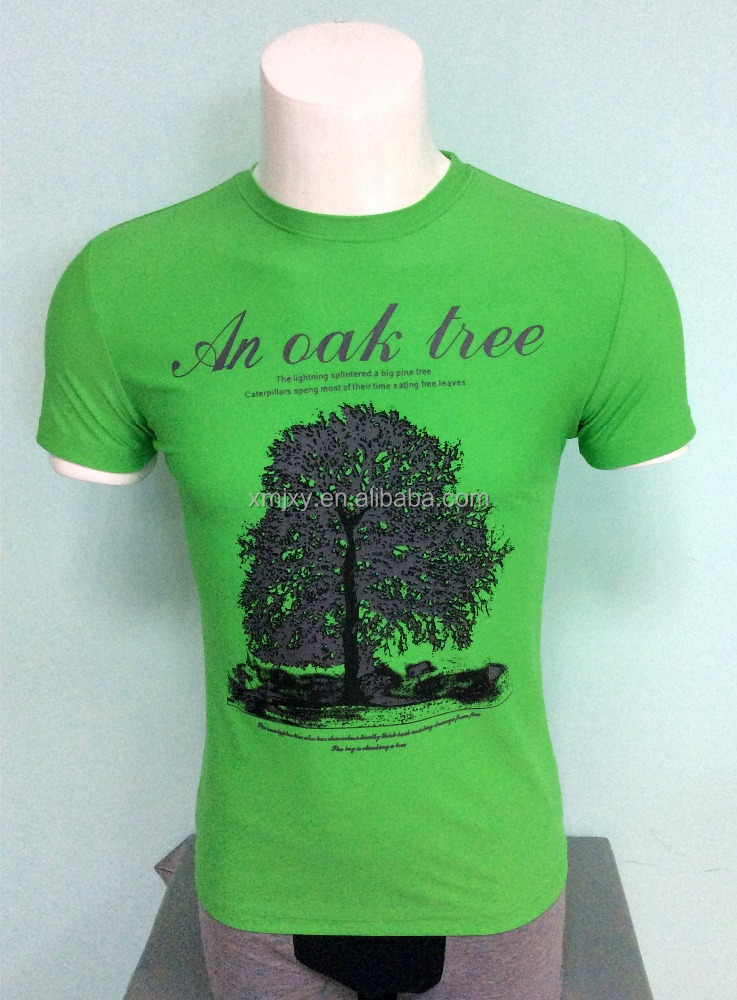 China supplier fashion oak tree cheap plain printed crew neck men summer short sleeve fitted t shirt