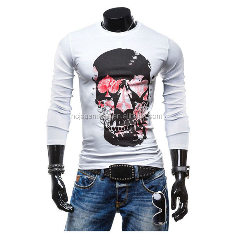 Promote Men Long Sleeve Cotton T-Shirt Fashion Skull Printed tshirt O Neck Outdoor Hip Hop Tops Tees Camisas Hombre Men Clothes
