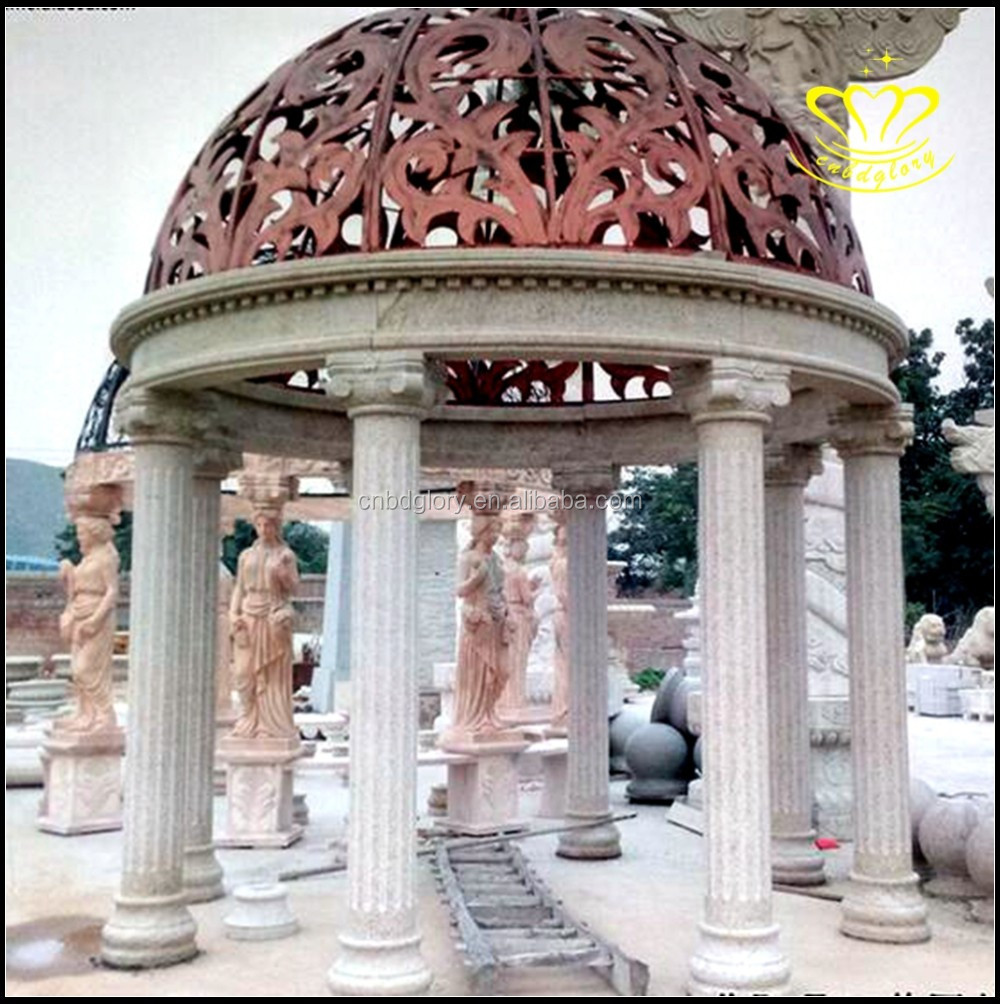 China style Roman column iron sunset red marble pavilion corridor pergola gazebo