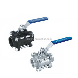 3pc carbon steel floating type ball valve with NPT threaded