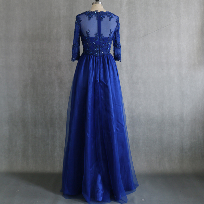 Rp0136 French Lace Appliqued Beaded Sheer Back Satin Long Royal Blue ...