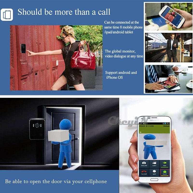Wi-fi видео внутренняя связь монитор ночное видение дверной звонок дверь камера домофона беспроводная внутренняя связь для Android телефон iPhone - р23