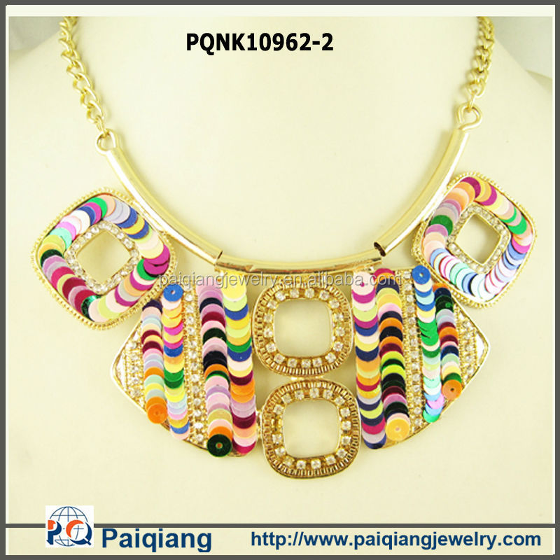 Newest design fashion gold plated chunky layered tribal sequin costume necklace