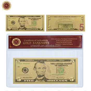 WR 999 24K Gold Plated Banknote USD 5 Colored Fake Bills Home Decor Copy Paper Money