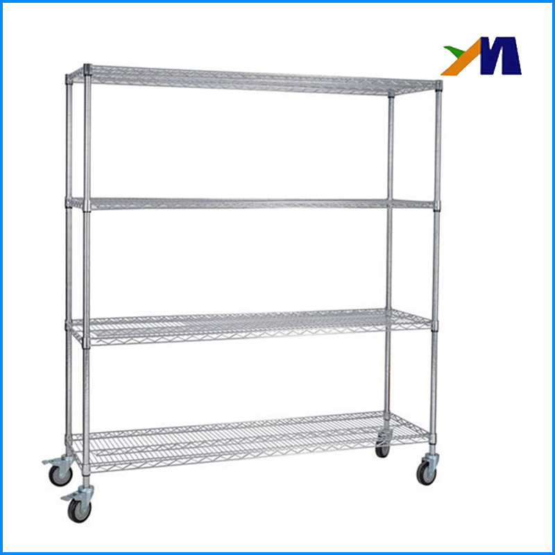 Large Capacity 4 tier Chrome Wire Mesh Height Adjustable Metal Supermarket Storage Rack Shelf With Wheels