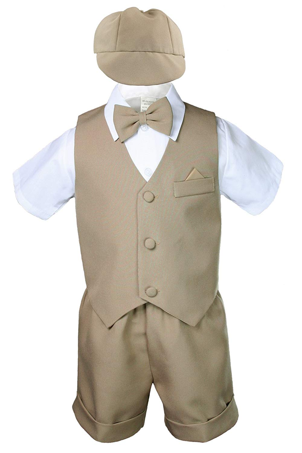 07e38cab4 Get Quotations · Unotux Khaki Infant Boys Toddler Eton 5 Piece Formal Vest  Shorts Sets Suits S-4T