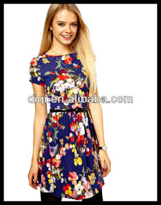 latest fashion floral dress design hot sell lively british wind dress
