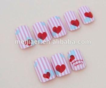 Pre-designed\\plain Red Heart Artificial Nail Art Tips\\acrylic\\cut ...