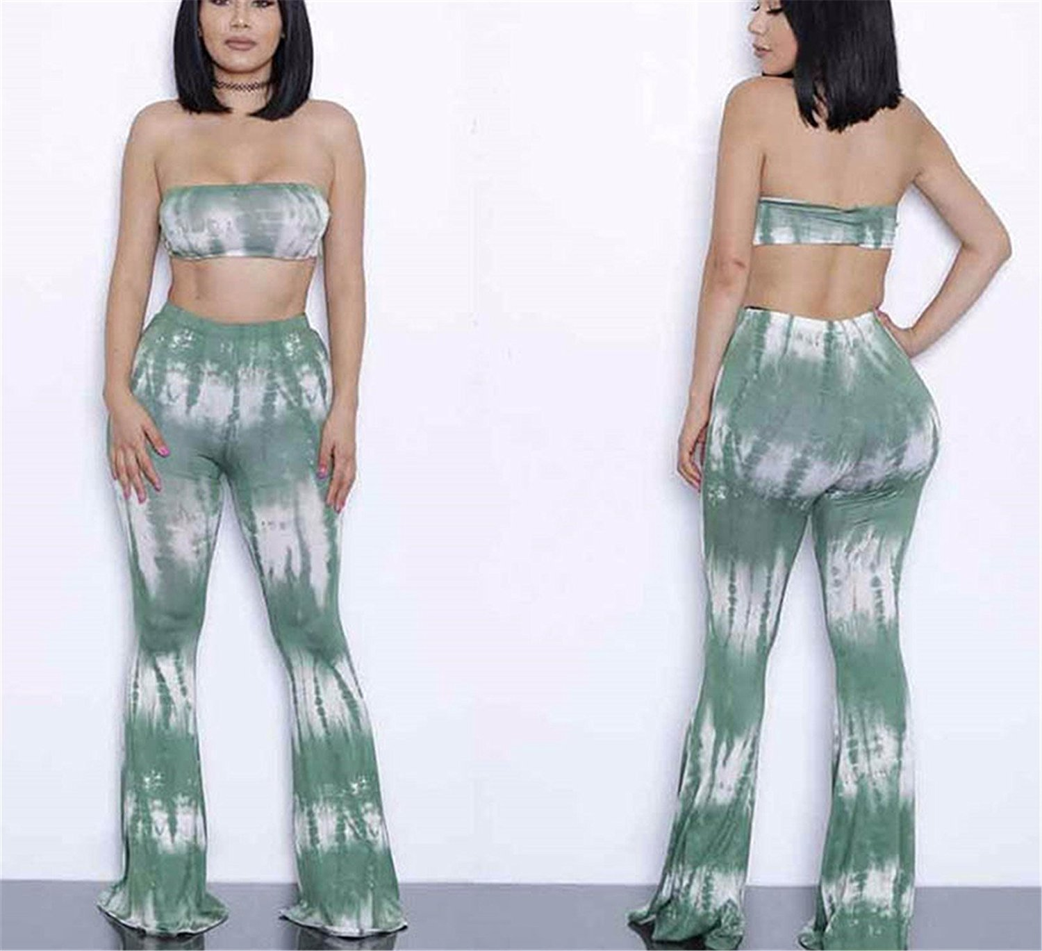 8670905f7f6 Get Quotations · Chiffoned New Summer Plus Size 2 Piece Set Women Pants Set  Bandage Sleeveless Crop Top Wide