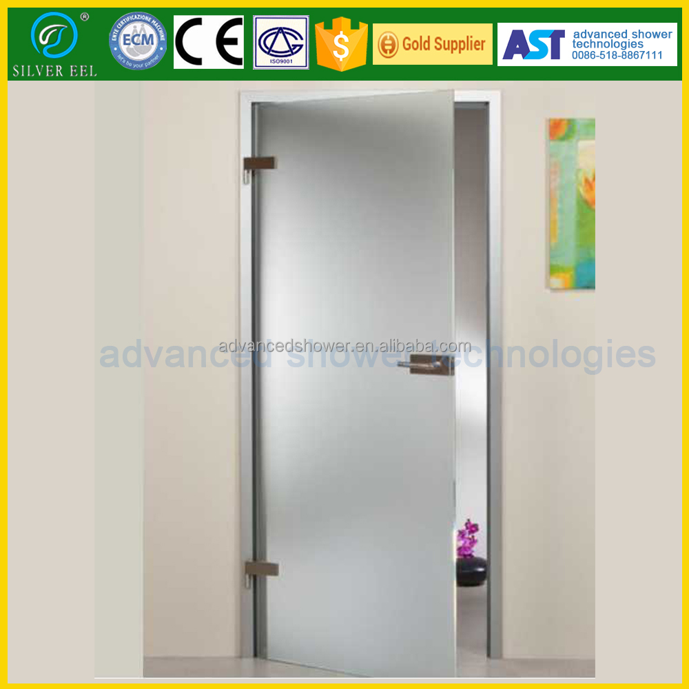 Modern Frosted Glass Bathroom Shower Door With Aluminum Frame Free