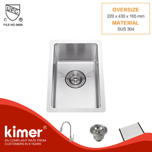 SMALL KITCHEN DESIGN CUSTOM SIZE SINGLE STAINLESS STEEL BAR SINK WITH STRAINER