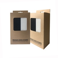 SR FSC Certified 3 PLY Plain Black And White Color Paper Straws 200 Biodegradable Bulk In The Box