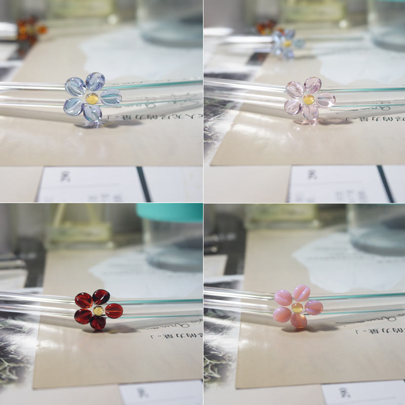 Handmade Flower Glass Straw Drinking Eco Friendly High Borosilicate Glass Bent Straw For Smoothies Tea Juice Coffee Bar