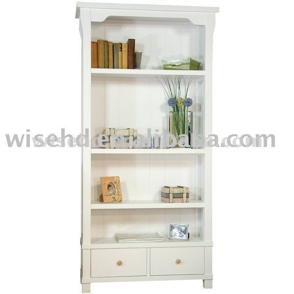 white solid wood bookcase W-BC-8015