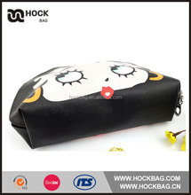high quality black PU Leather Cosmetic Bag with cute face picture for travel
