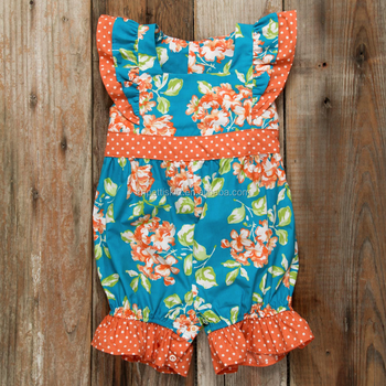 5236f0b2c8a4 Girls Romper 2017 fall Casual Style Orange Baby Girl Clothes Flutter Sleeve  Floral Romper for Kids
