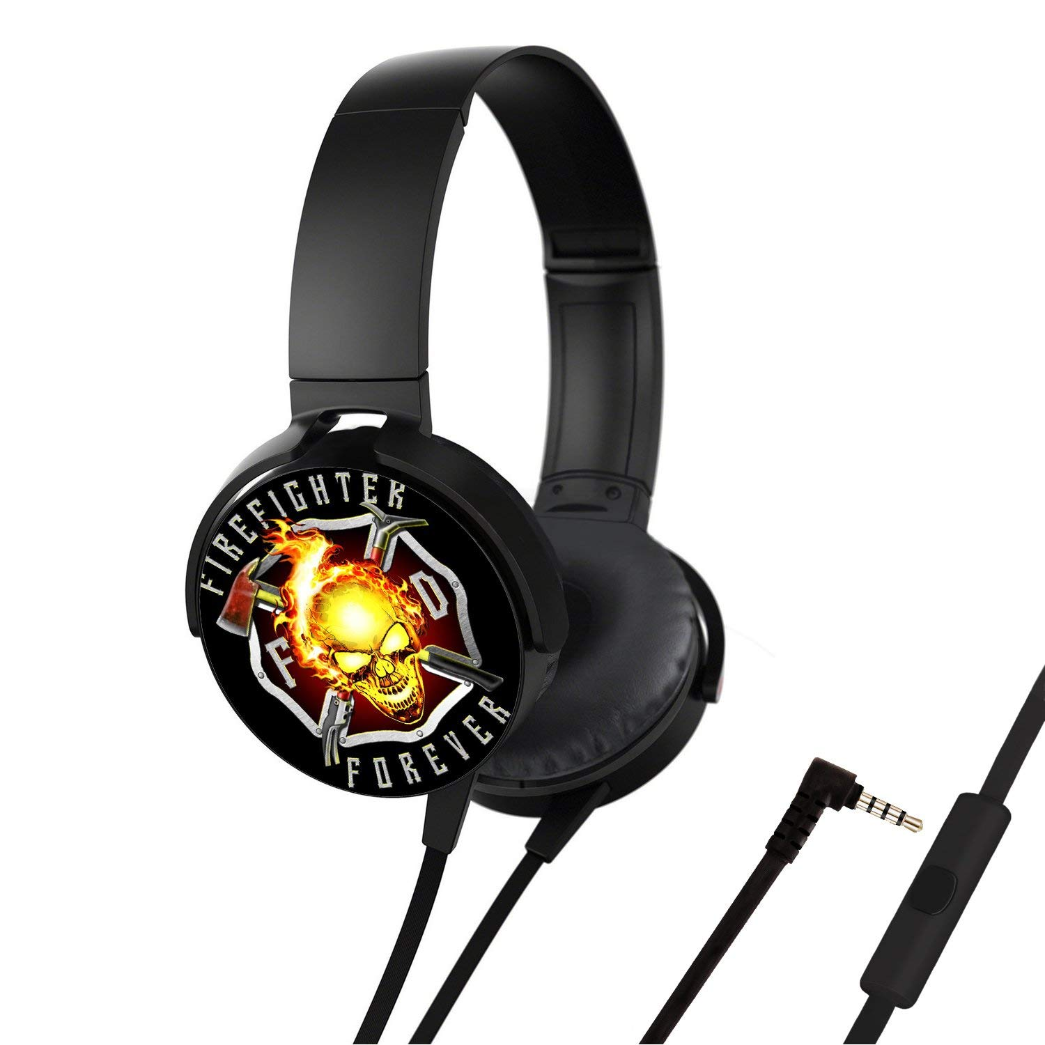 Portable Headsets, Bass Stereo Wired Over Ear Headphones Build-in Mic for Smartphones iPhone PC Laptop, Customized Design with Soft Earmuff, Noise Cancellation - Flaming Skulls