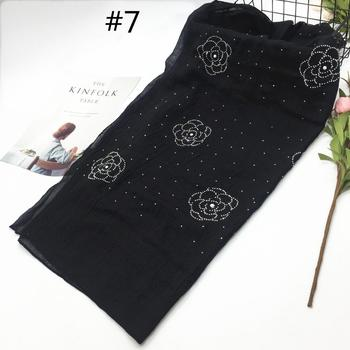 Cotton and linen scarf with rhinestones fashion muslim women hijab scarf with stone soft cotton scarf